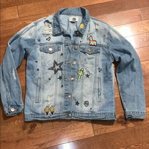 Forever 21 distressed jean jacket patches stars m